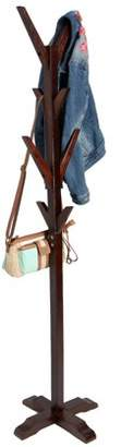 Mind Reader 8 Hook Solid Free Standing Wood Coat Rack, Entryway Coat Tree Hat Hanger Umbrella Holder, Brown