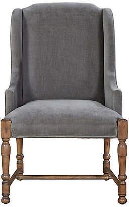 One Kings Lane Sophia Velvet Armchair - Gray