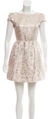 Alice + Olivia Cap Sleeve A-Line Mini Dress