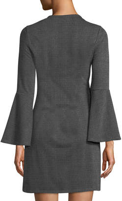 Dex Fluted-Sleeve V-Neck Plaid Dress