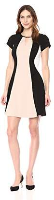Sandra Darren Women's 1 PC Short Sleeve Printed Color Block Knit Fit and Flare Dress