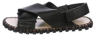 Valentino Leather Crossover Sandals