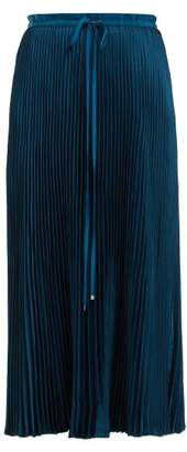 Tibi Mendini Pleated Twill Midi Skirt - Womens - Blue