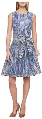 Tommy Hilfiger Women's Paisley-Print Striped Sheer Fit & Flare Dress