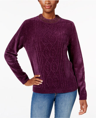 Alfred Dunner Beaded-Neck Chenille Sweater $54 thestylecure.com