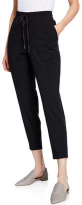 Eileen Fisher Drawstring Slouchy Jersey Straight-Leg Ankle Pants, Plus Size