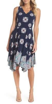 Maggy London Majolica Print Handkerchief Hem Dress