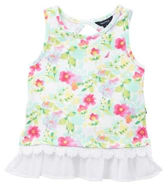 Nautica Floral Print & Chiffon Hem Tank Top (Little Girls)