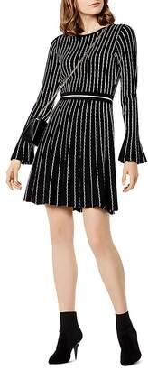 Karen Millen Striped Knit Fit-and-Flare Dress
