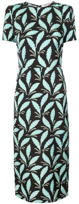 Diane von Furstenberg leaf print fitted dress