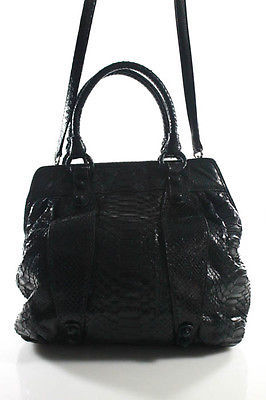 Carlos FalchiCarlos Falchi Black Snakeskin Large Satchel Handbag