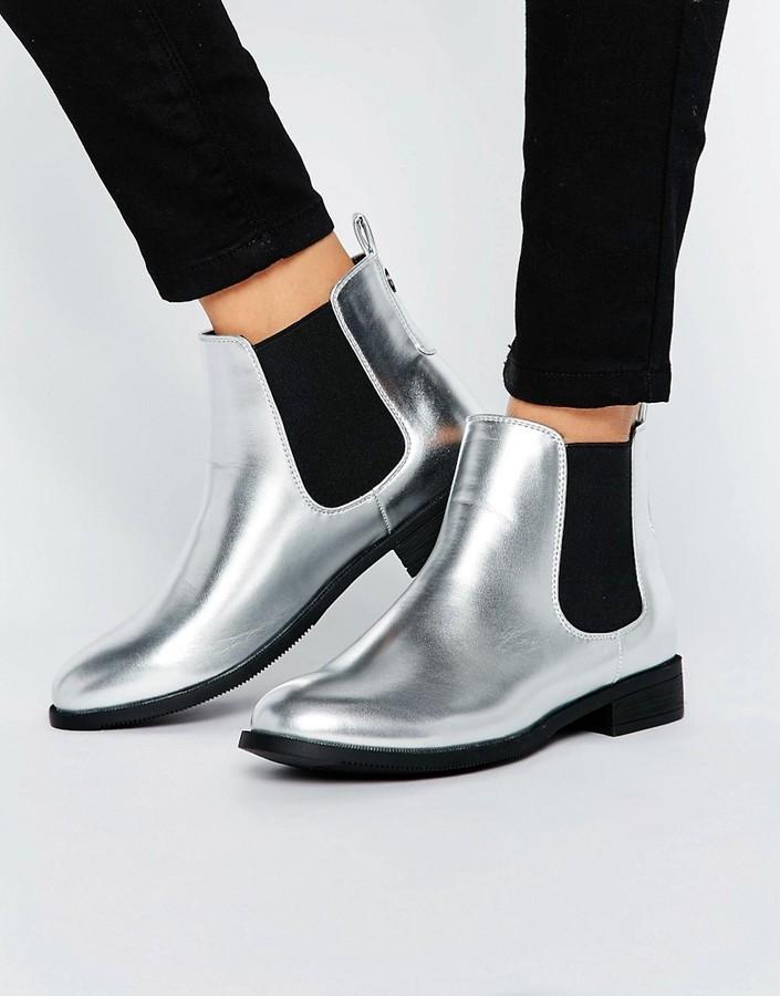 Park Lane Flat Metallic Chelsea Boots