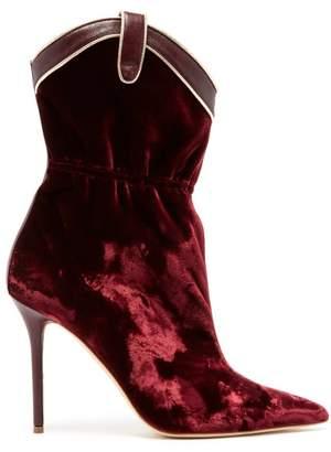 Malone Souliers Daisy Velvet Boots - Womens - Burgundy Multi