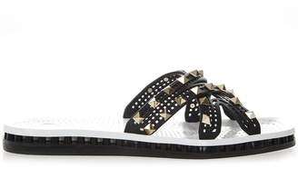 Valentino Black Rubber Slides With Metal Studs