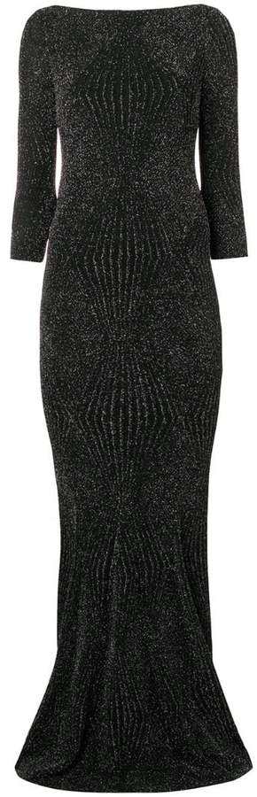 lamé fitted gown