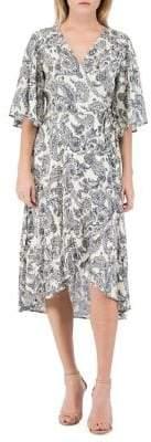 Bobeau B Collection by Orna Paisley Wrap A-Line Dress