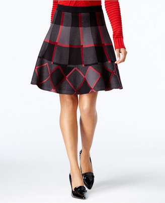 Grace Elements Plaid A-Line Sweater Skirt $70 thestylecure.com