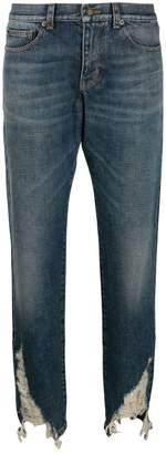 Saint Laurent distressed hem boyfriend jeans