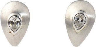 One Kings Lane Vintage Brushed Gold & Diamond Teardrop Earrings - Owl's Roost Antiques