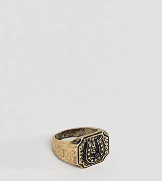Asos DESIGN Plus western style horseshoe ring in burnished gold