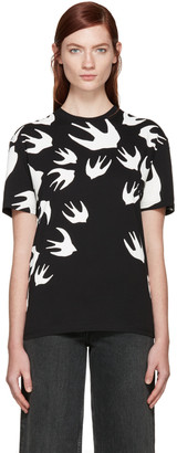 McQ Alexander Mcqueen Black Swallows T-Shirt $190 thestylecure.com