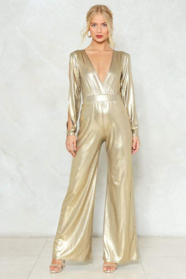 nastygal Dripping in Gold Metallic Jumpsuit