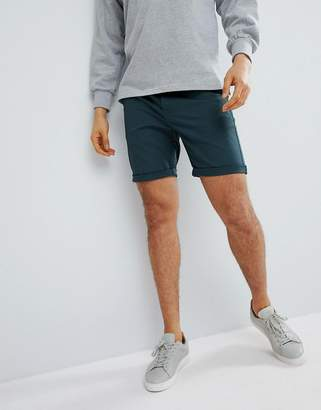 Asos DESIGN Slim Chino Shorts In Bottle Green