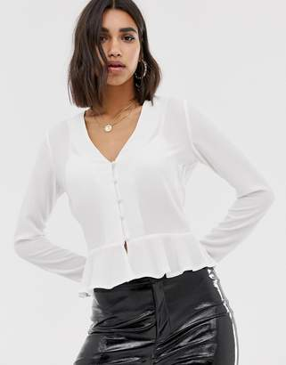 Missguided button through peplum blouse in white