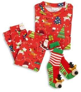 Books To Bed Toddler's& Little Boy's Three-Piece Snuggle Moon Christmas Pajama and Socks Set