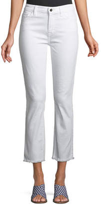 7 For All Mankind Jen7 by Straight-Leg Cropped Jeans with Raw Hem