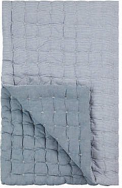 John Lewis Coastal Chambray Pinstripe Quilted Bedspread, Blue