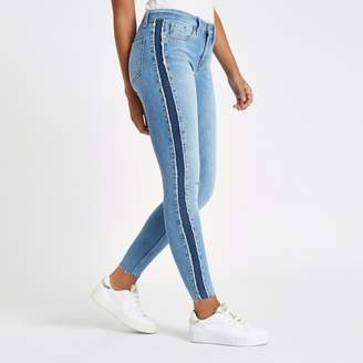 River Island Womens Mid Blue Amelie mid rise shadow panel jeans