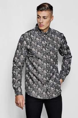 boohoo Floral Paisley Print Long Sleeve Shirt