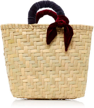 Donni. M'O Exclusive Donni Straw and Velvet Large Basket Bag