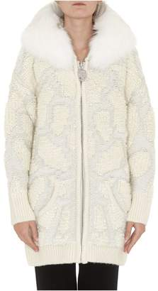 Philipp Plein Knit Jacket With Fur Trimmed Hood