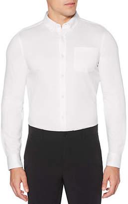 Perry Ellis Slim-Fit Knit Long-Sleeve Button-Down Shirt