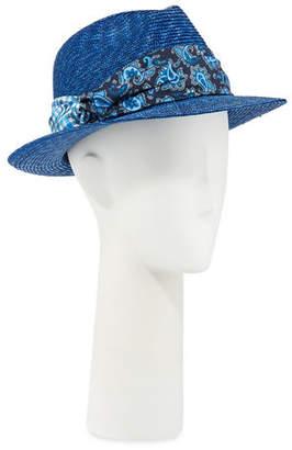 4c5f3e988fc Etro Men s Straw Fedora Hat with Silk Band