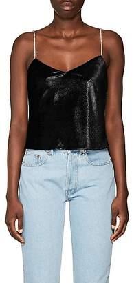 Area Women's Evita Crystal-Strap Velvet Cami - Black