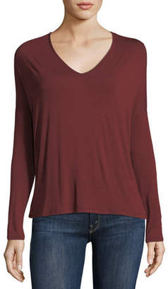 Neiman Marcus Majestic Paris for Soft Touch Long-Sleeve Relaxed V-Neck Tee