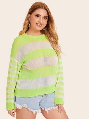 Shein Plus Striped Color Block Sweaters