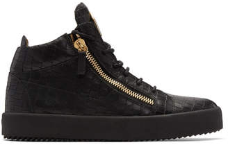 Giuseppe Zanotti Black Croc May London High-Top Sneakers