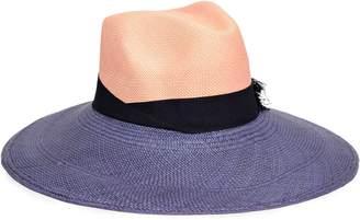 2343741b Sensi Studio Grosgrain-trimmed Two-tone Straw Panama Hat