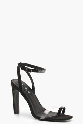 boohoo Flat Heel Diamante and Clear Sandals
