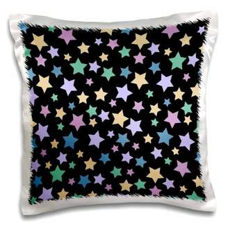 3dRose Cute Stars Pattern on Black - Sweet Girly and Colorful - Purple Teal Pink Blue and Yellow Stars - Pillow Case, 16 by 16-inch