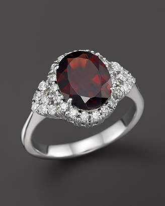 Bloomingdale's Garnet and Diamond Ring in 14K White Gold - 100% Exclusive
