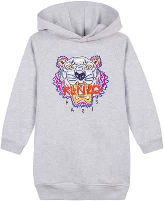 Kenzo Fleece Tiger Embroidered Hoodie Dress, Size 14-16