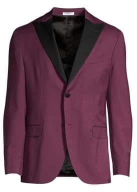 Boglioli Men's Contrast Lapel Single-Breasted Suit Jacket - Magenta - Size 48 (38) R