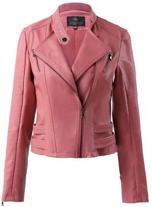 Moto LingLuoFang LLF Women's Faux Leather Biker Short Jacket With Decorative Belt