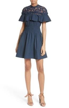 Women's Self-Portrait Hudson Ruffle Sleeve Fit & Flare Dress $425 thestylecure.com