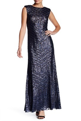 Vera Wang Sequined Back Cutout Gown $448 thestylecure.com